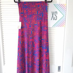 New LuLaRoe Maxi Skirt-Fushia/Royal Blue/Orange